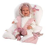 Кукла Llorens 42см, малышка улыбающаяся с матрасиком в розовом