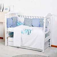 BAMBOLA Комплект универсальный для стандартной и овальной кроватки 29 пр. ВОКРУГ СВЕТА Бязь Голубой