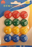 Магниты канцелярские 12 шт цветные Ф-20 мм (1002)