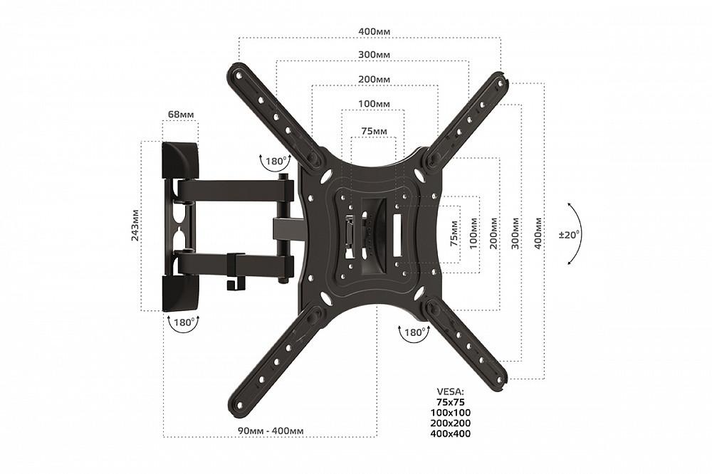 Наклонно-поворотный подвес для телевизоров HARPER TVFW-55, черный - фото 5