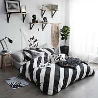 Комплект постельного белья двуспальный VIP- Cotton чёрно белые полосы