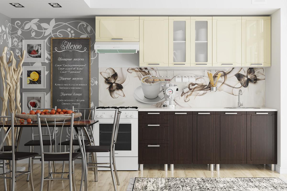 Комплект мебели для кухни Геометрия 2400, Ваниль/Венге, СВ Мебель(Россия)