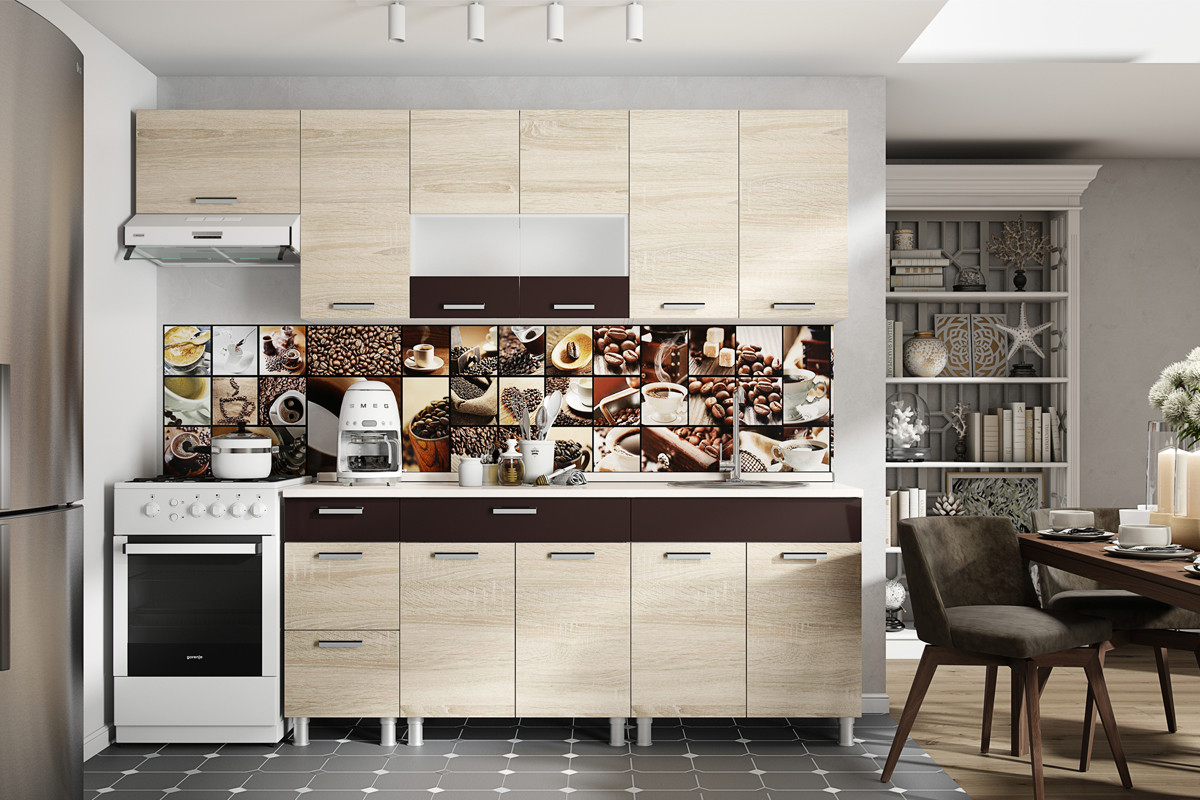 Комплект мебели для кухни Арабика 2600, Дуб Сонома, СВ Мебель(Россия)