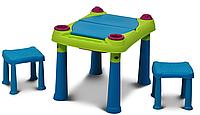 Стол для детского творчества и игры с водой и песком + 2 табуретки (79x56x50h)