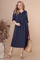 Женское летнее трикотажное синее большого размера платье Линия Л Б-1890 т.синий-горох 60р.