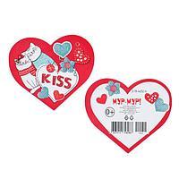 "Открытка-валентинка ""Kiss"" глиттер, коты, вязанный фон"
