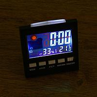 Часы настольные электронные: календарь, будильник, термометр, гигрометр 2 ААА, 9.2х4х9.5 см 521966