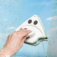 Магнитная щётка для мытья окон с двух сторон Доляна, с водосгоном, 15-26 мм