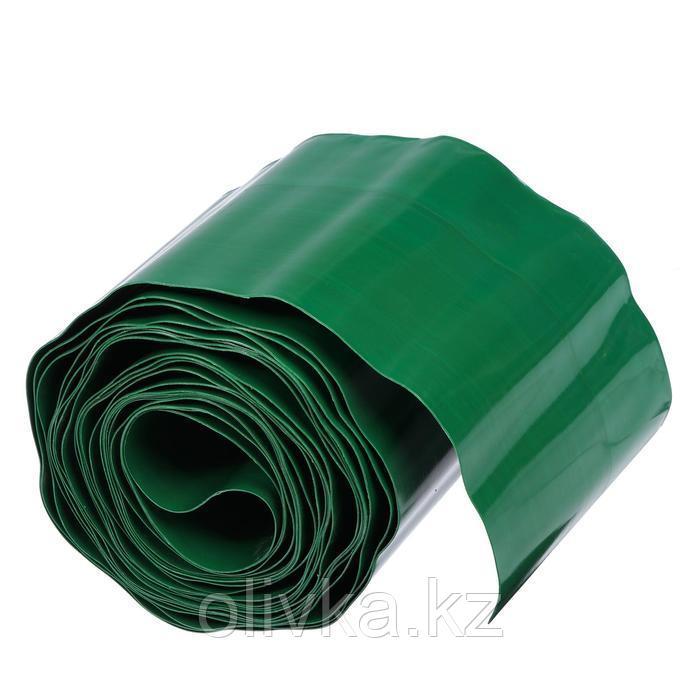 Лента бордюрная, 0.2 × 9 м, толщина 0.6 мм, гофра, пластиковая, зелёная