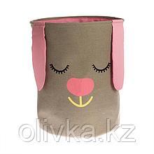 Корзина для хранения игрушек «Зайка» розовый, 40×40×50 см