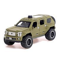 Машина металлическая «Джип», 1:24, открываются двери, капот, багажник, инерция, цвет хаки