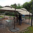 Зонт уличный квадратный Lux с чехлом (3х3м), бежевый (без утяжелителей), фото 3
