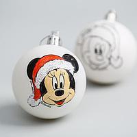 Новогоднее елочное украшение под раскраску Микки Маус, набор 2 шт, размер шара 5,5 см