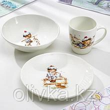 Набор посуды Кубаньфарфор «Юнга», 3 предмета: тарелка d=17,5 см, миска 250 мл, d=17,5 см, кружка 260 мл