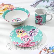 Набор посуды My Little Pony, 3 предмета: кружка 240 мл, миска 18 см, тарелка 19 см