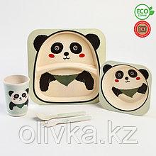 Набор бамбуковой посуды «Панда», 5 предметов: тарелка, миска, стакан, вилка, ложка