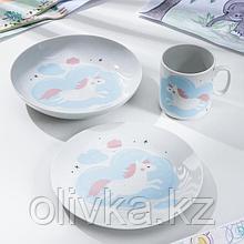 Набор посуды «Единорог», 3 предмета: кружка, тарелка, тарелка глубокая