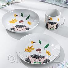 Набор посуды «Ёж», 3 предмета: кружка, тарелка, тарелка глубокая