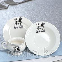 """Столовый набор """"Телята"""", салатник 0.5 л, тарелка 17.5 см, чашка 0.22 л"""