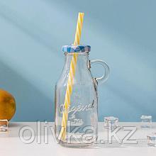 Бутыль, 200 мл, с ручкой и крышкой под трубочку, цвет МИКС