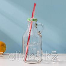 Бутыль, 400 мл, с ручкой и крышкой под трубочку, цвет МИКС