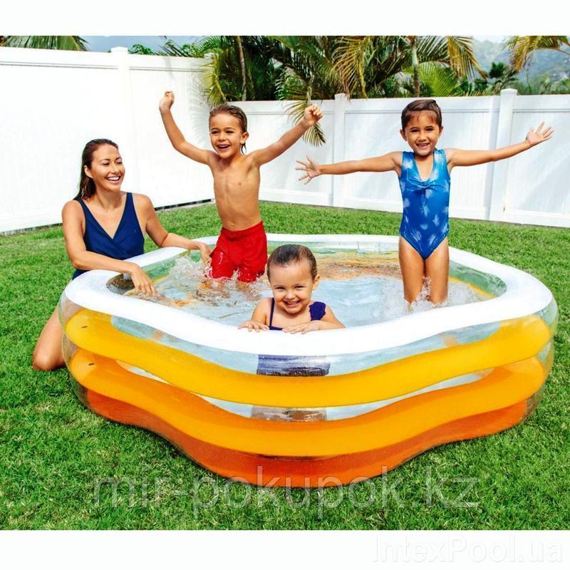"""Intex 56495, надувной семейный бассейн с надувным дном Summer Colors, """"Звезда"""" 185х180*53 см"""