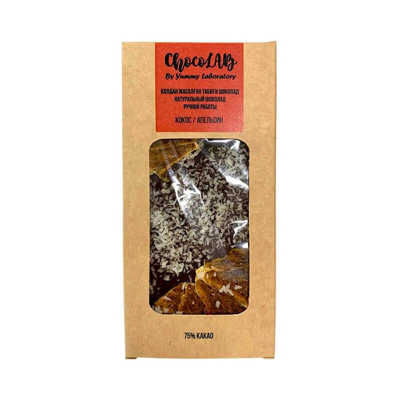 Натуральный шоколад без сахара. Кокос апельсин