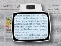 Eschenbach Лупа менисковая асферическая настольная с подсветкой visolux+, 100 х 75 мм, 3.0х (12.0 дптр) арт.