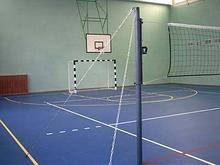 АКВЕЛЛА Стойка волейбольная напольная на растяжках с закладными в пол с механизмом натяжения арт. AQ17489