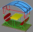 Noname Стол уличный с 2-мя скамейками и крышей арт. DmL23727