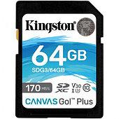 Карта памяти SD, Kingston Canvas Go! Plus, 64GB  SDG3/64GB