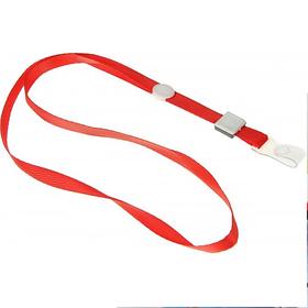 Ремешок для бейджа, 45см, c пластиковым клипом, атласный, красный