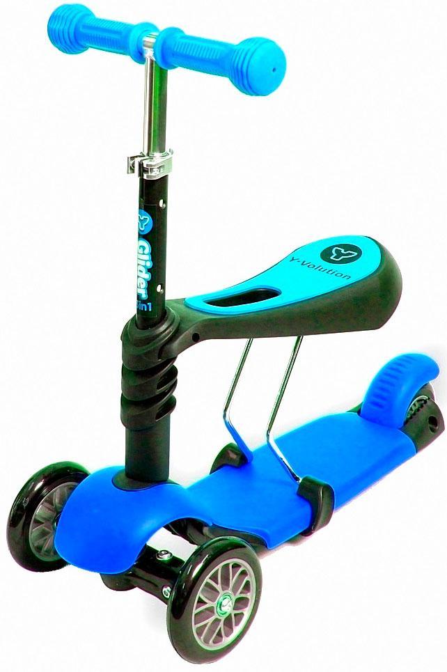 Самокат Scooter трехколесный 3 в 1 голубой
