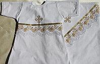 Крестильный комплект.  Размер: 68-74см;  пеленка (100х100см); платье крестильное Ткань: трикотаж, кружево, выш