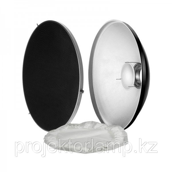 Портретная тарелка (Beauty Dish) 55 см с сотами и тканевым диффузором, байонет Bowens. Белая