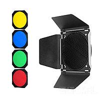 """Шторки Godox BD-04 с цветными фильтрами + соты. 7"""" (180мм)"""