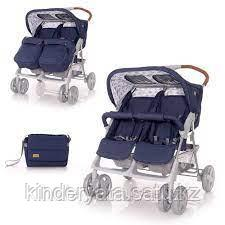 Прогулочная коляска для двойни Bertoni Twin  Синий / Blue Clouds 2091