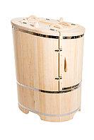Кедровая фитобочка, Овальная Со скосом, 130*78*100/2,5 см, PREMIUM