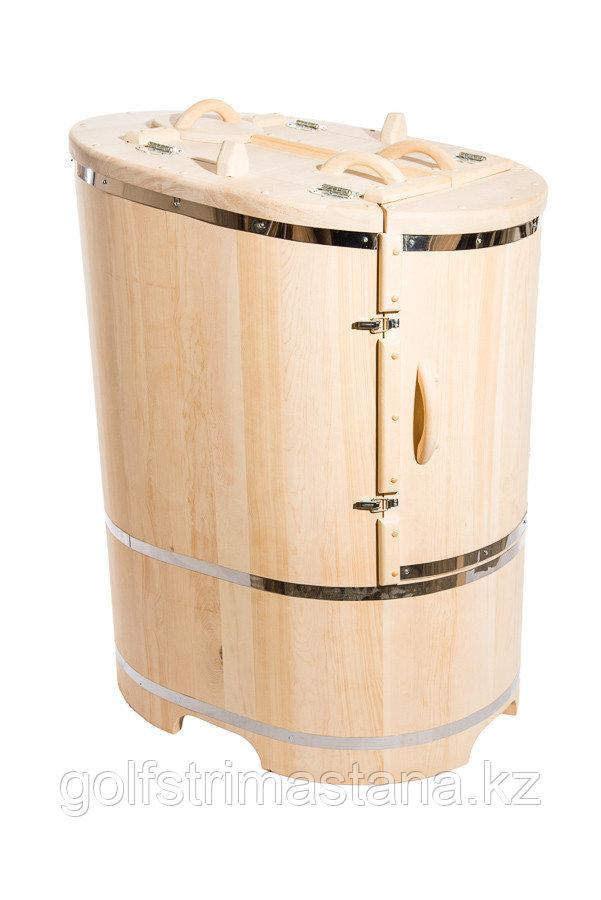 Кедровая фитобочка, Овальная Со скосом, 130*78*100/4 см, PREMIUM