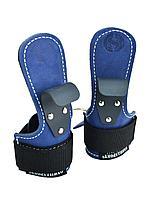 Крюки для турника и тяги кожаные, синие