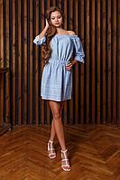 Женское летнее хлопковое голубое платье Art Oliya 77 голубой 40р.