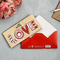 Конверт деревянный резной «With Love», 16,5 х 8см