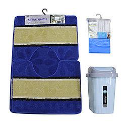 Набор для ванны (мягкий коврик+шторка для ванной+урна пластиковая)