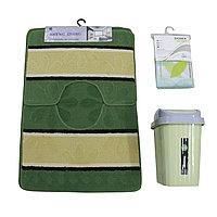 Набор для ванны (мягкий коврик+шторка для ванной+урна пластиковая) Зеленый