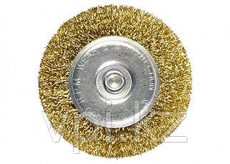 Плоская щетка для дрели со шпилькой, латунированная витая проволока, 30мм. Matrix