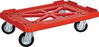Тележка 600*400 пластик красная, черные резиновые колеса