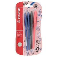 Ручка шариковая STABILO Re-Liner, 3 цвета, 4 шт. в блистере
