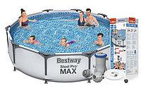 Каркасный бассейн  Steel Pro MAX Bestway 56416 + фильт насос (366х76см)