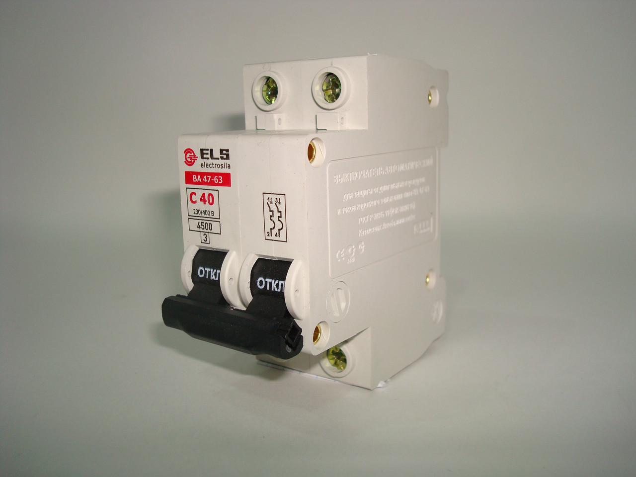 Автоматический выключатель 2Р 40А ВА 47-63 (С) ELS