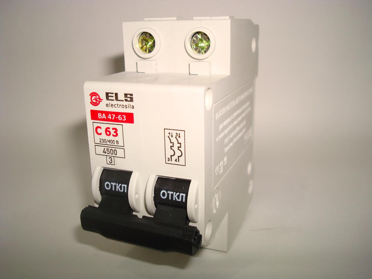 Автоматический выключатель 2Р 63А ВА 47-63 (С) ELS